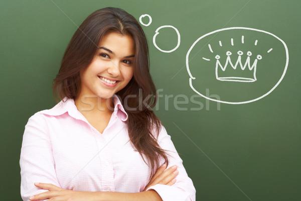 Királyi gondolatok portré csinos lány iskolatábla Stock fotó © pressmaster