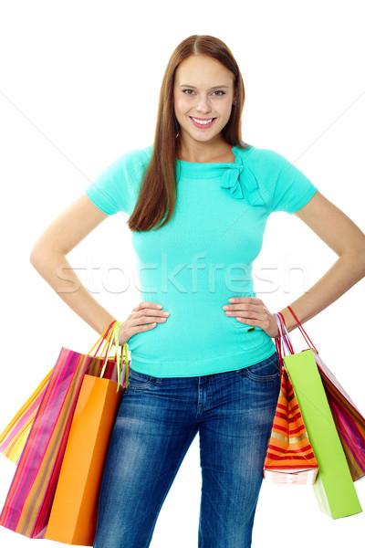 Gelukkig consument portret gelukkig meisje naar camera Stockfoto © pressmaster