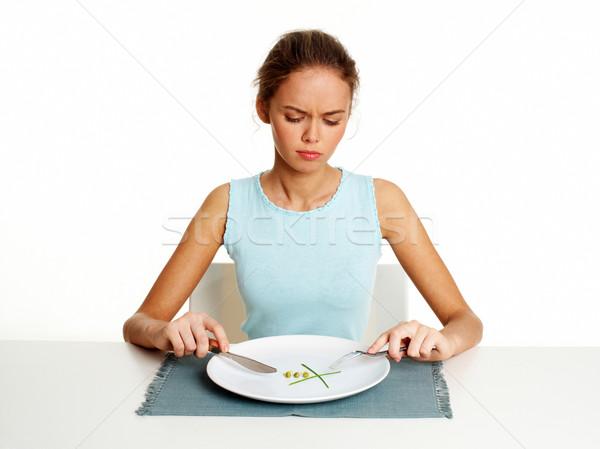 Alacsony diéta boldogtalan fiatal nő diétázás zöldborsó Stock fotó © pressmaster