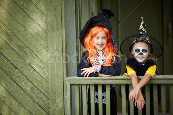 Stok fotoğraf: Halloween · arkadaşlar · portre · iki · kızlar · bakıyor