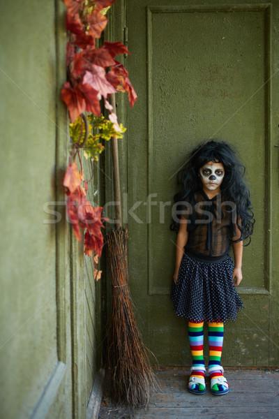 Kicsi boszorkány portré halloween lány seprű Stock fotó © pressmaster