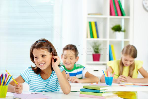 Oturma ders portre kız iki öğrenci Stok fotoğraf © pressmaster