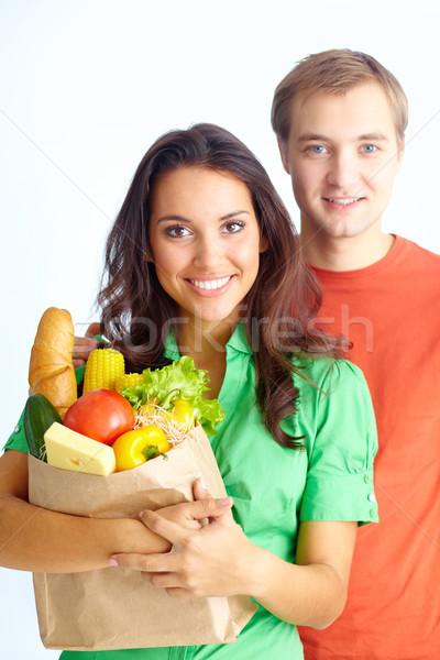 çift mutlu sağlıklı beslenme bakıyor kamera kız Stok fotoğraf © pressmaster