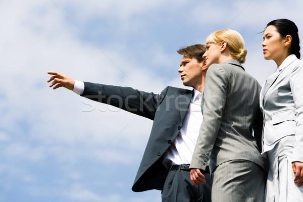 Stock foto: Hinweis · Geschäftsmann · etwas · zwei · eleganten
