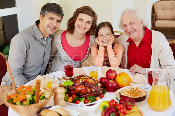 Ringraziamento festività ritratto famiglia felice seduta Foto d'archivio © pressmaster