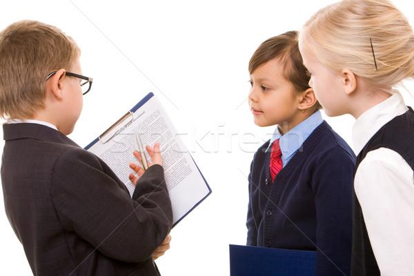 Stock fotó: Csapatmunka · portré · három · gyerekek · megbeszél · új