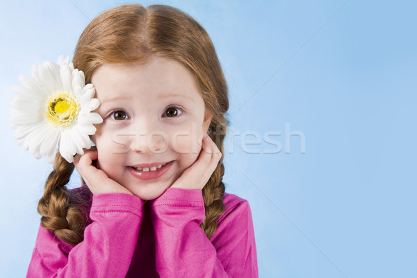 Cuki portré bájos lány virág haj Stock fotó © pressmaster