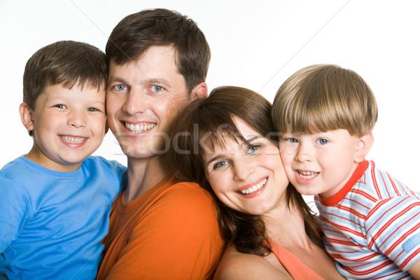 Zdjęcia stock: Wraz · portret · radosny · rodziców · patrząc