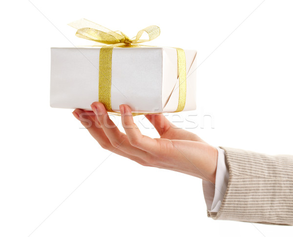 Giftbox in hand Stock photo © pressmaster