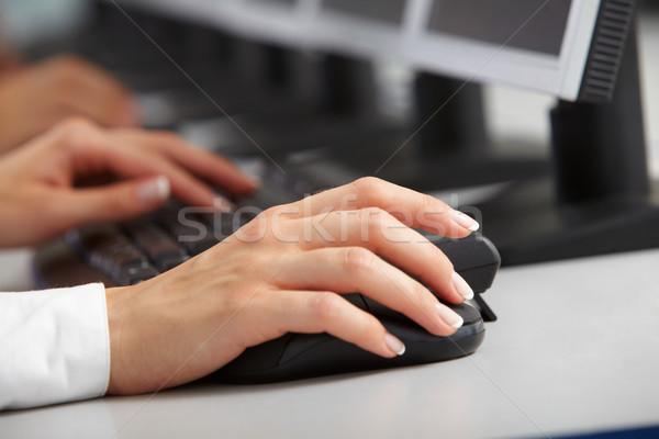 изображение женщины стороны мыши набрав клавиатура Сток-фото © pressmaster