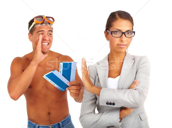 Afwijzing portret topless vent tickets ernstig Stockfoto © pressmaster