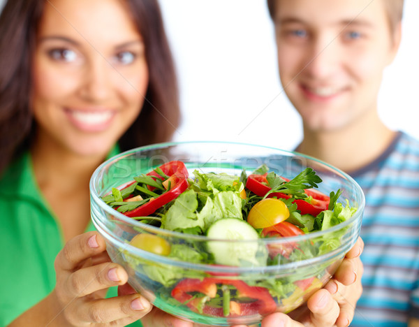 Stock fotó: Egészséges · ebéd · boldog · pár · mutat · zöldség