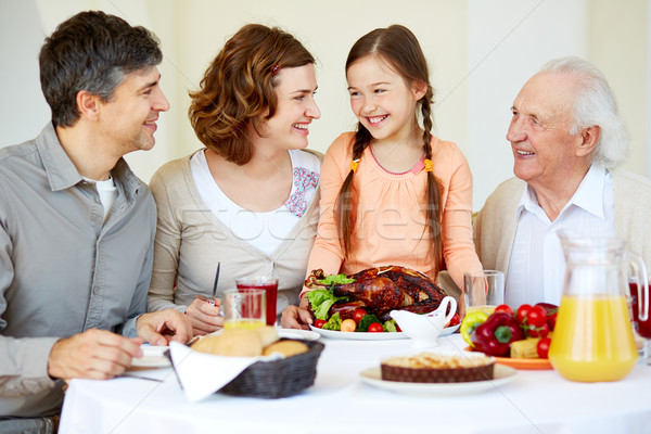 Family at Thanksgiving table Stock photo © pressmaster