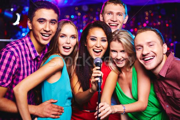 Karaoke parti portre mutlu kızlar Stok fotoğraf © pressmaster