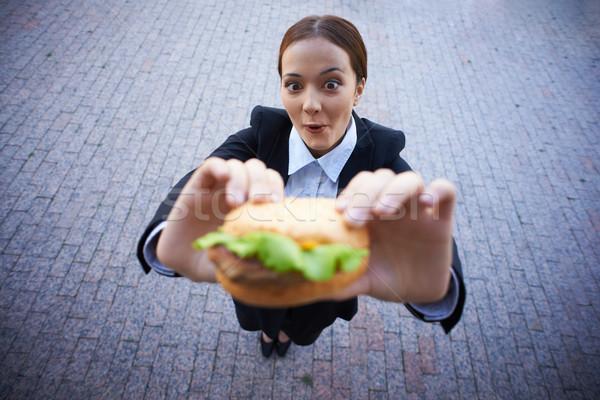Stock fotó: Női · falatozó · üzletasszony · tart · szendvics · néz