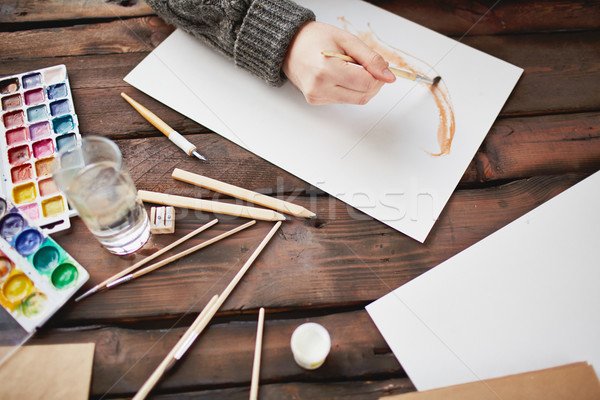 Drawing in water-colors Stock photo © pressmaster