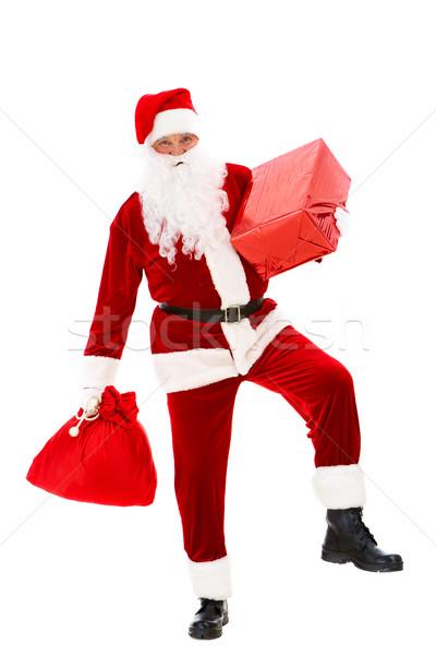 ストックフォト: サンタクロース · 贈り物 · 写真 · 幸せ · サンタクロース · 赤