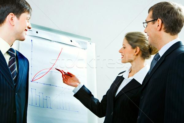 Werken briefing afbeelding geslaagd vrouw uitleggen Stockfoto © pressmaster