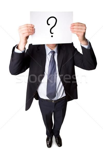 Frage über Winkel smart Geschäftsmann Anzug Stock foto © pressmaster