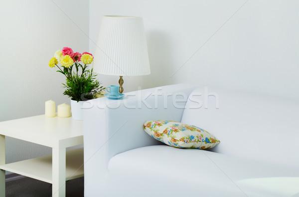 Stockfoto: Witte · kamer · lege · kamer · meubels · licht · leder