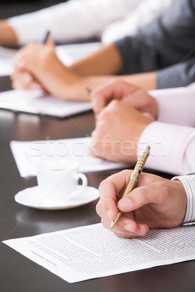 Seminar menschlichen Hand Stift Business Hand Stock foto © pressmaster