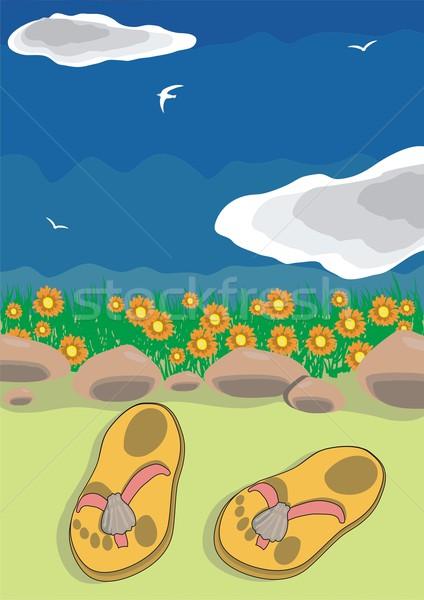 пляж сандалии небе фон путешествия ног Сток-фото © pressmaster