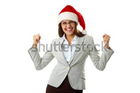 Ja portret extatisch zakenvrouw cap Stockfoto © pressmaster