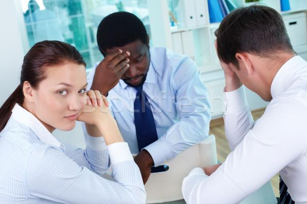 Slechte geluk portret triest business team vergadering Stockfoto © pressmaster