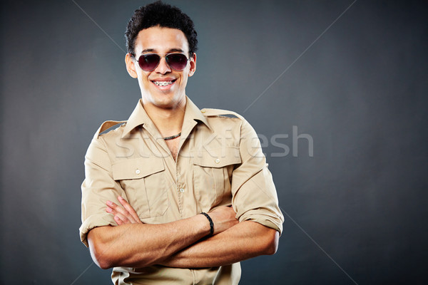 выстрел счастливым чувак позируют черный Сток-фото © pressmaster