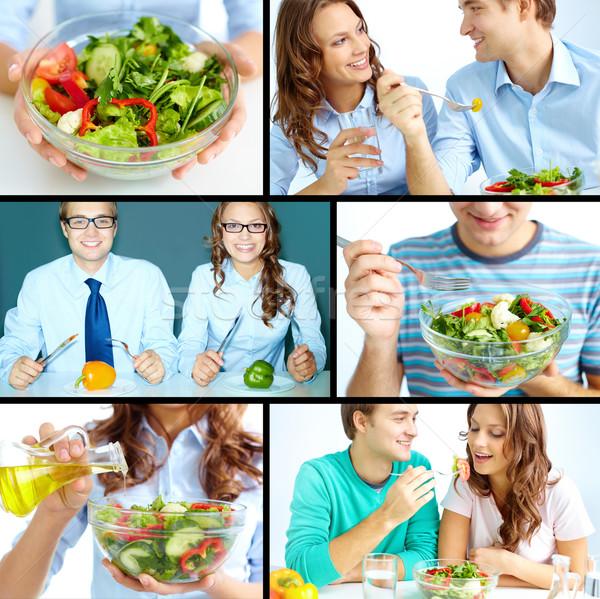 Stock fotó: Kettő · egészségesen · enni · étel · lány · mosoly · tányér