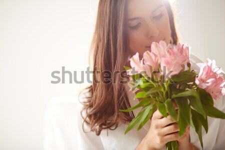 Frescura retrato dama flores Foto stock © pressmaster
