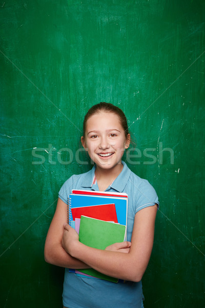 Stock fotó: Lány · tankönyvek · portré · aranyos · iskolás · lány · néz