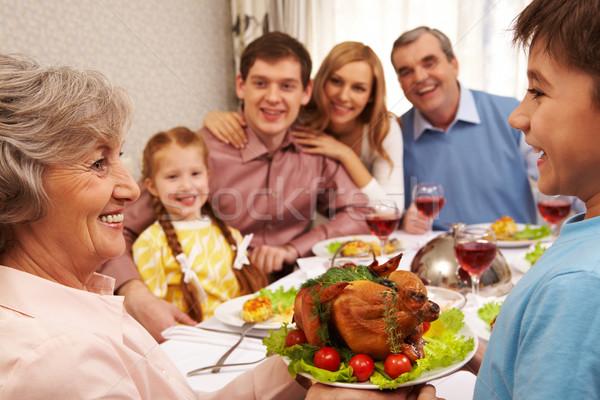 Smaczny żywności portret szczęśliwy babcia Zdjęcia stock © pressmaster