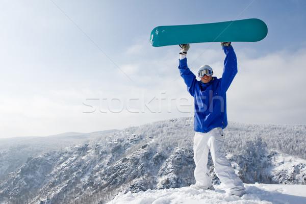 Stockfoto: Vent · portret · blijde · snowboard