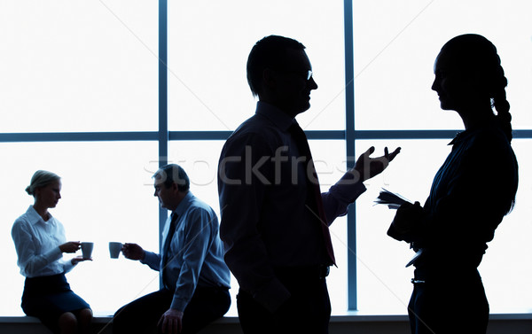 Stockfoto: Corporate · silhouet · zakenlieden · gang · business