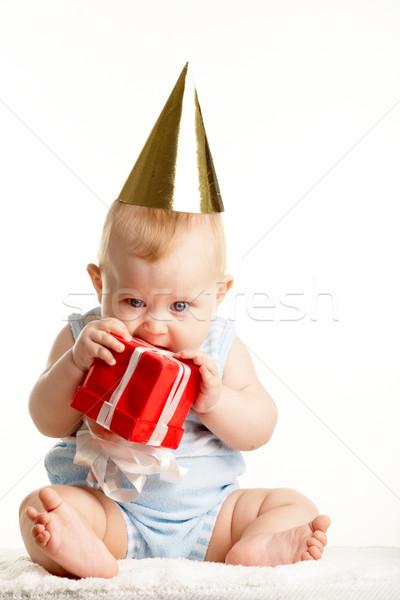 Baby foto aanbiddelijk verjaardag aanwezig Stockfoto © pressmaster