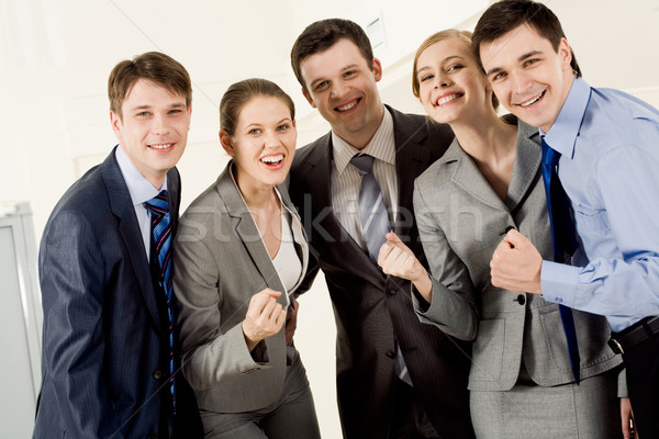 Stock fotó: Erőteljes · csapat · portré · boldog · üzleti · partnerek · néz