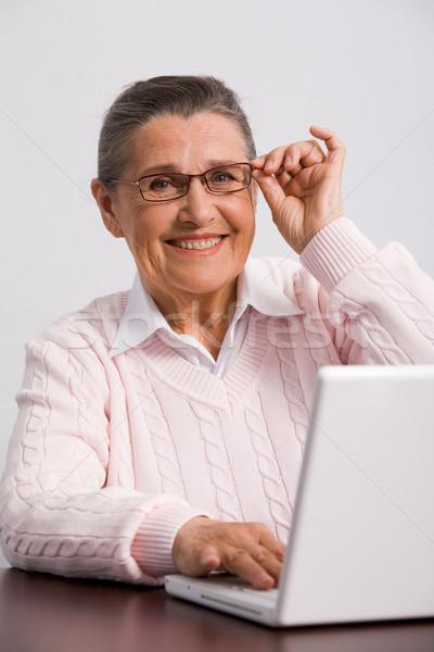 Stockfoto: Smart · vrouwelijke · portret · bril · naar