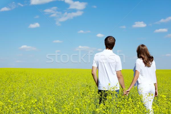 Stok fotoğraf: Umut · arkadan · görünüm · aşk · çift · yürüyüş · sarı