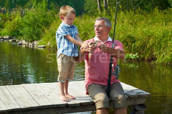 Photo stock: Pêche · photo · petit-fils · regarder · poissons · famille