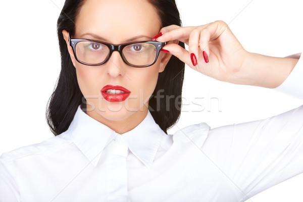 Zakenvrouw prachtig vrouw rode lippen aanraken bril Stockfoto © pressmaster
