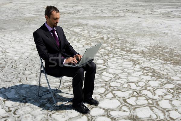 Gépel fotó modern üzletember laptop kívül Stock fotó © pressmaster