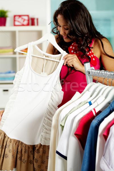 Trying on new dress Stock photo © pressmaster