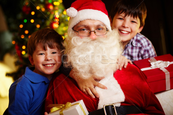 Karácsony hangulat fotó boldog fiúk mikulás Stock fotó © pressmaster