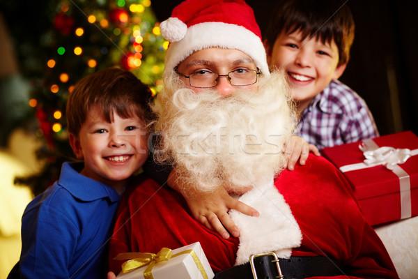 Christmas stemming foto gelukkig jongens kerstman Stockfoto © pressmaster