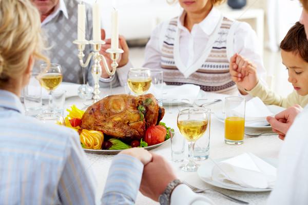áldás Isten család köszönet ünnepi asztal Stock fotó © pressmaster