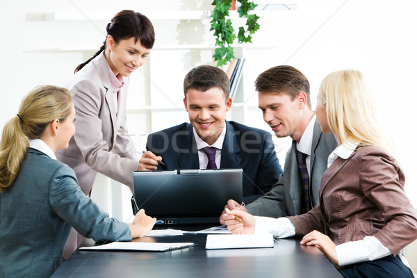 Stock fotó: Számítógép · munka · fotó · üzletemberek · néz · laptop
