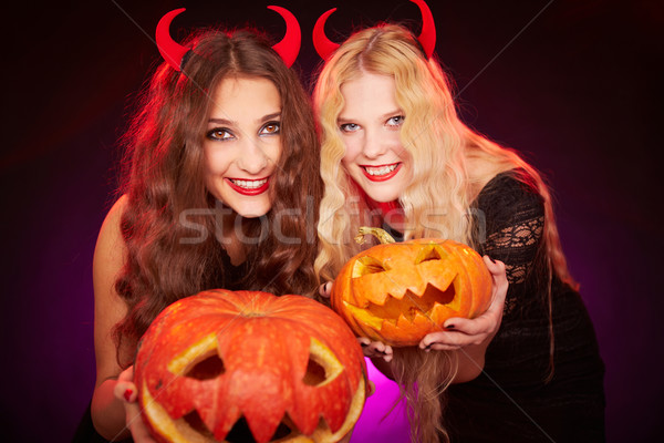 Showing pumpkins Stock photo © pressmaster