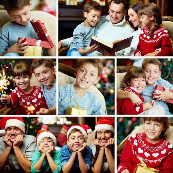 Feliz ocasião colagem família feliz natal noite Foto stock © pressmaster