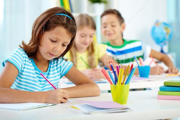школьница рисунок урок портрет серьезный девушки Сток-фото © pressmaster